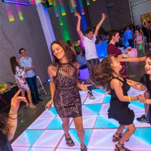 white and blue light up dancefloor during bat mitzvah in melbourne