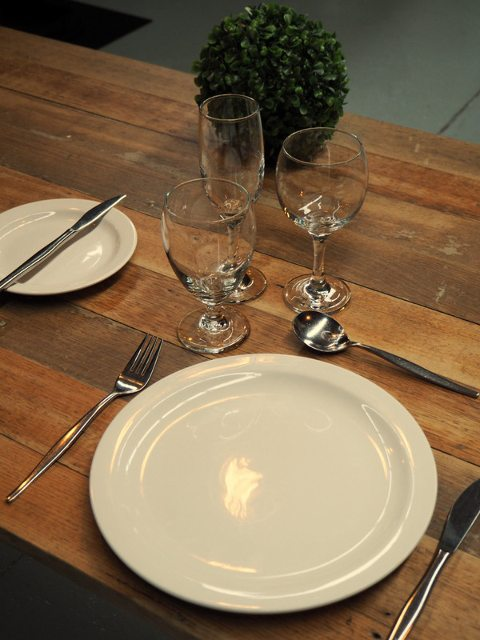 Wooden Table - Glassware - Table Setting