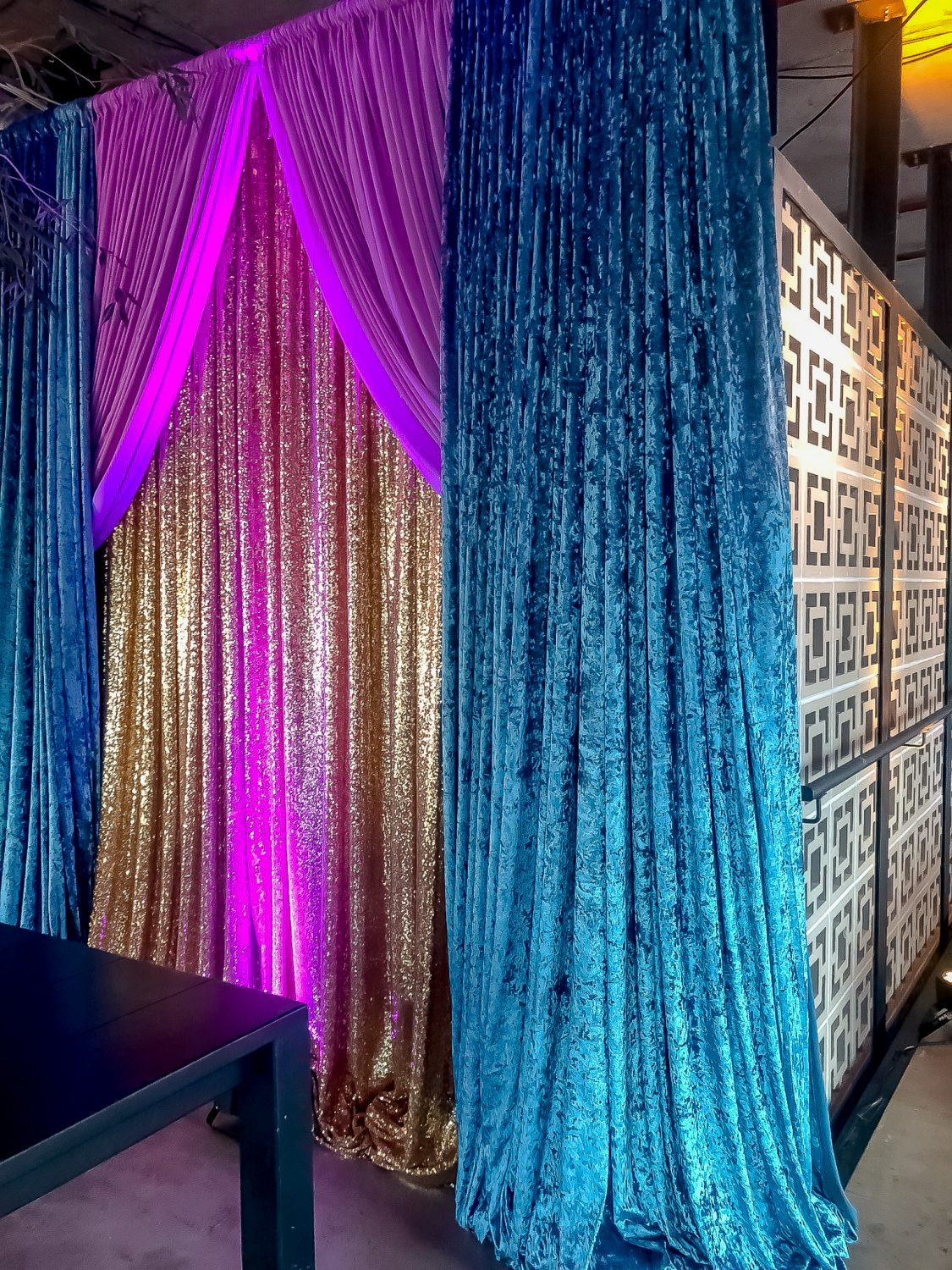 Teal Crushed Velvet Drape Hire Feel Good Events Melbourne