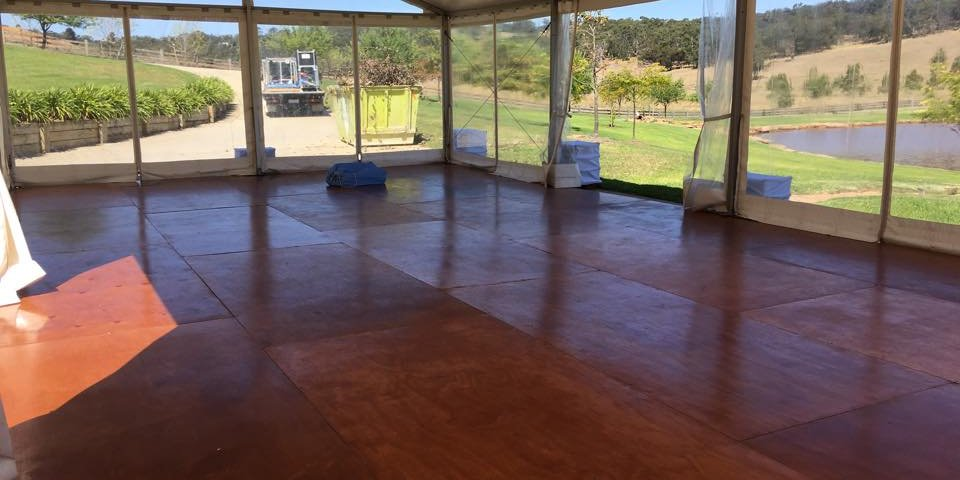 structure marquee with timber flooring