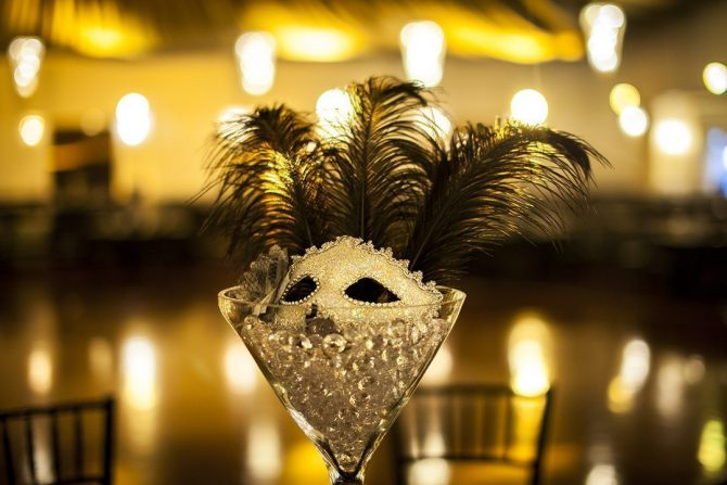 Masquerade Centrepiece Martini Glass Hire Feel Good