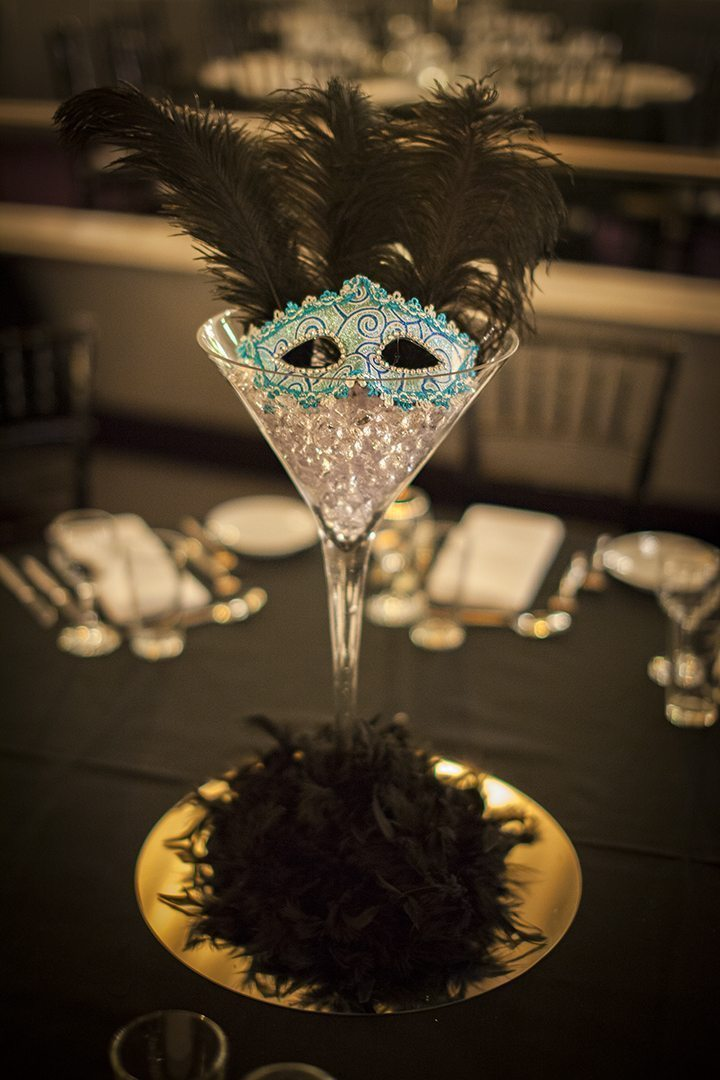 Masquerade centrepiece martini glass hire feel good