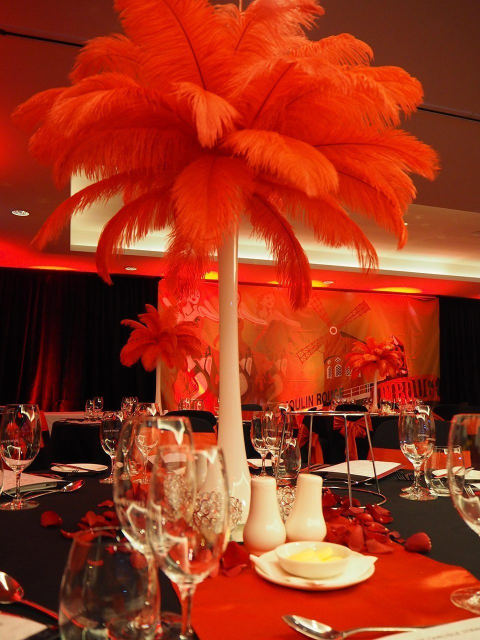 Red feather centrepiece hire feel good events melbourne