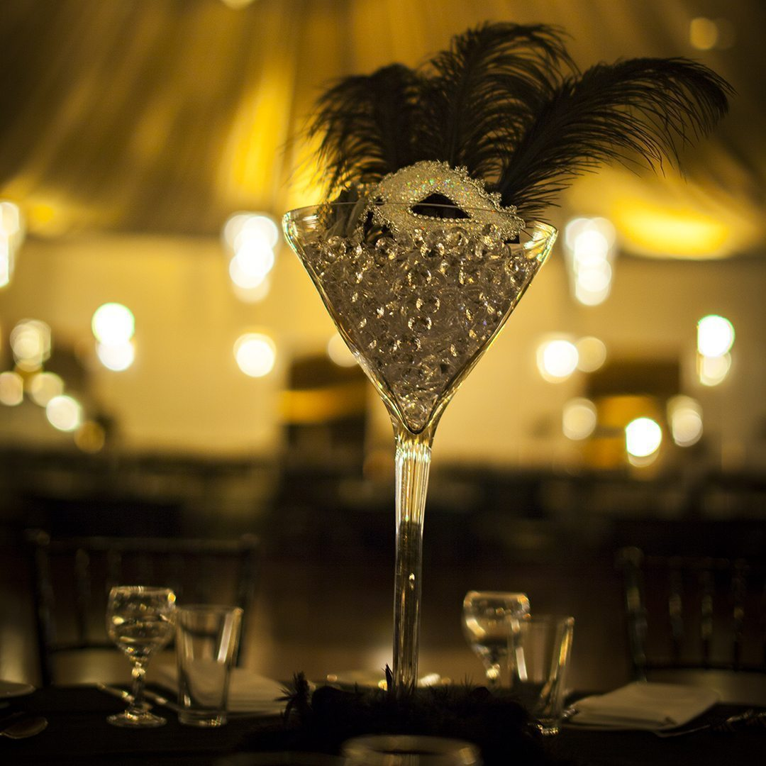 Masquerade Centrepiece Martini Glass Hire Feel Good Events