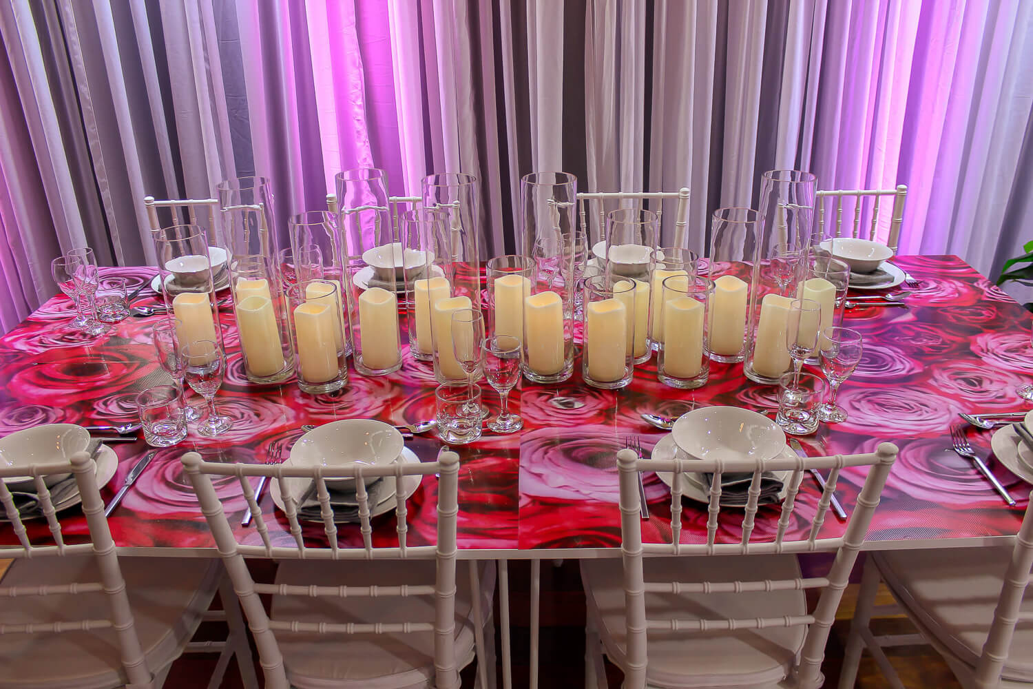 Candle Tablescape Hire Melbourne with uplighting 2
