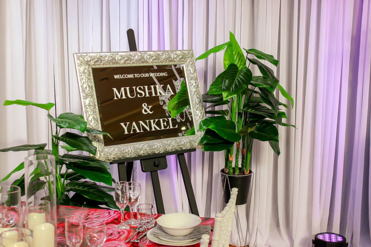 Decal on mirror hire wedding melbourne
