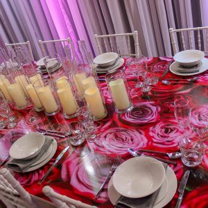 Feel good events pink dining table hire