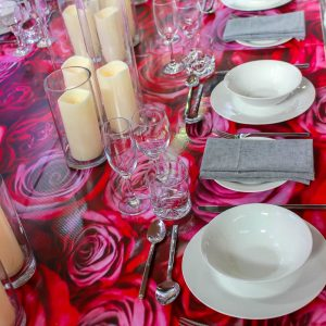 Flower Decal on Table party Hire melbourne