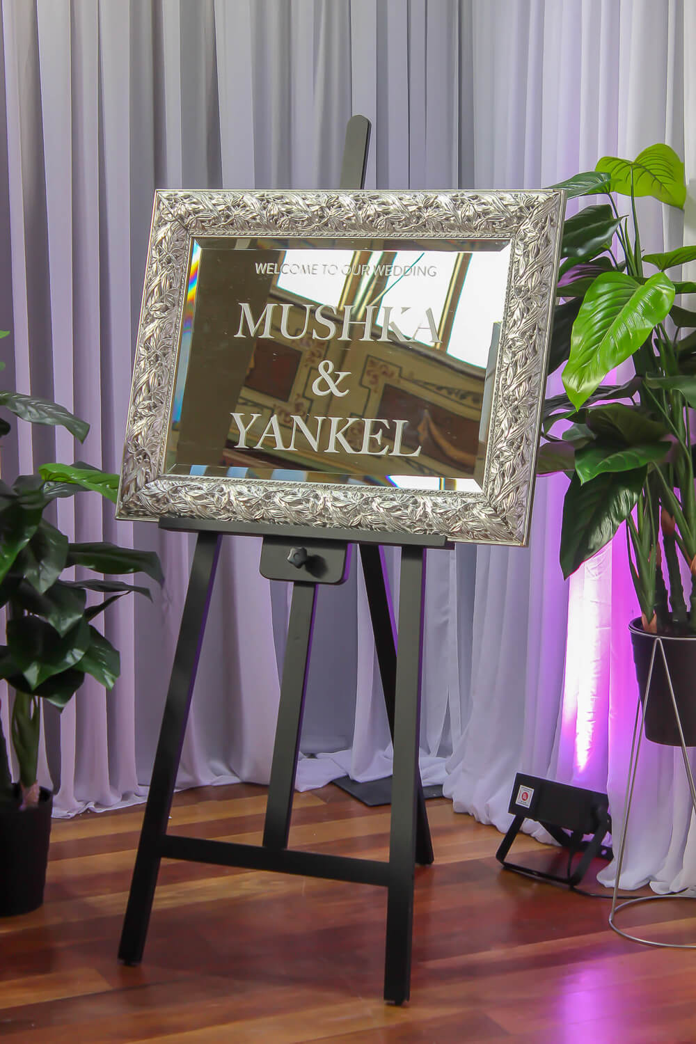Mirror Decal on black Easel Hire melbourne