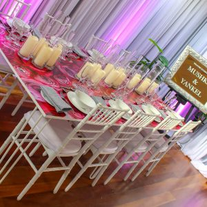 Party hire table flower mirror decal hire melbourne