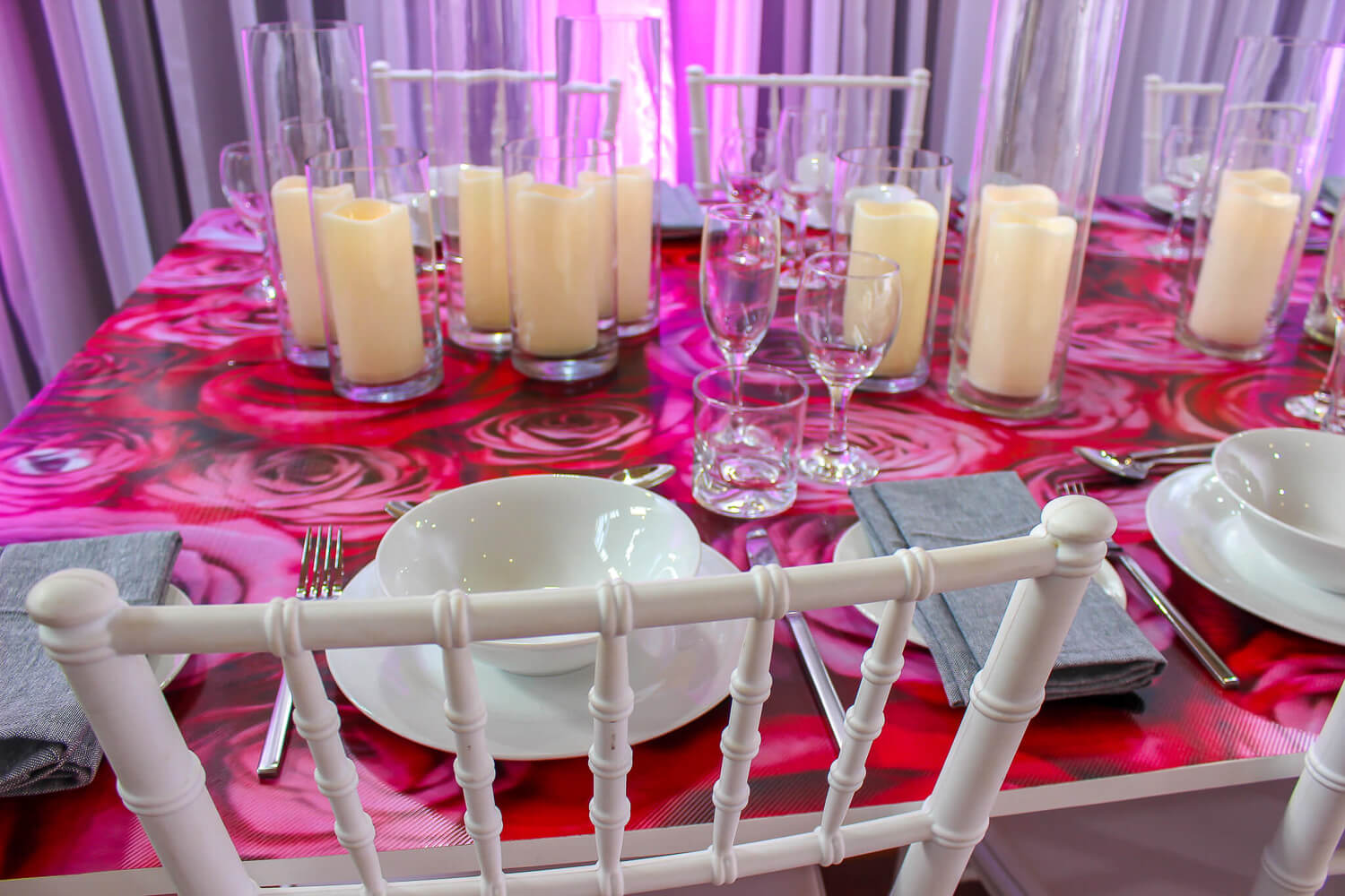 Rose Decal Dining Table Hire Melbourne 2