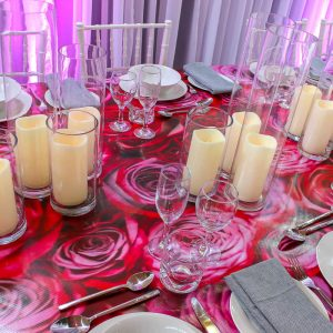 Rose Decal Dining Table Hire Melbourne 3