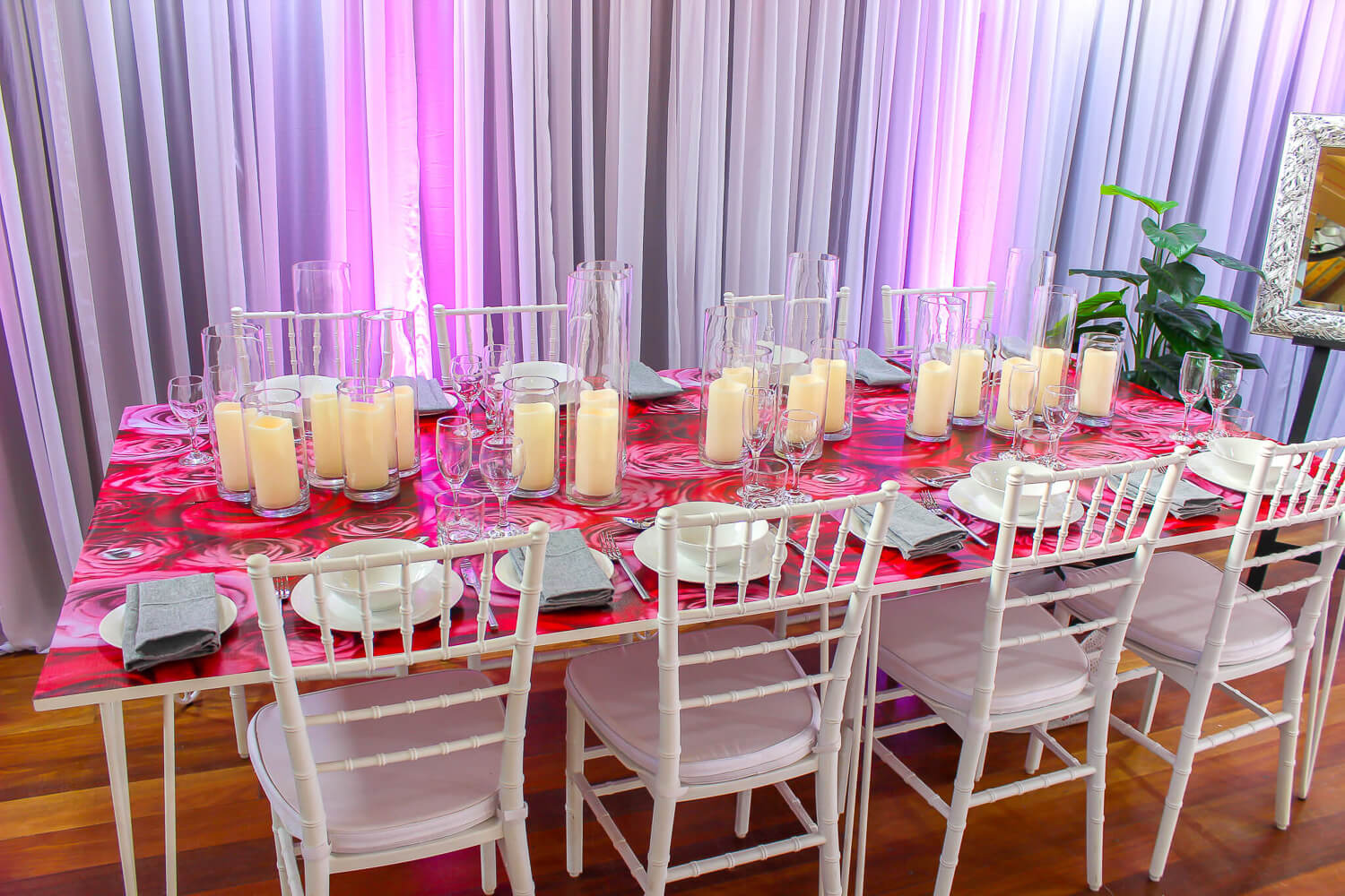 Rose Decal Dining Table Hire Melbourne