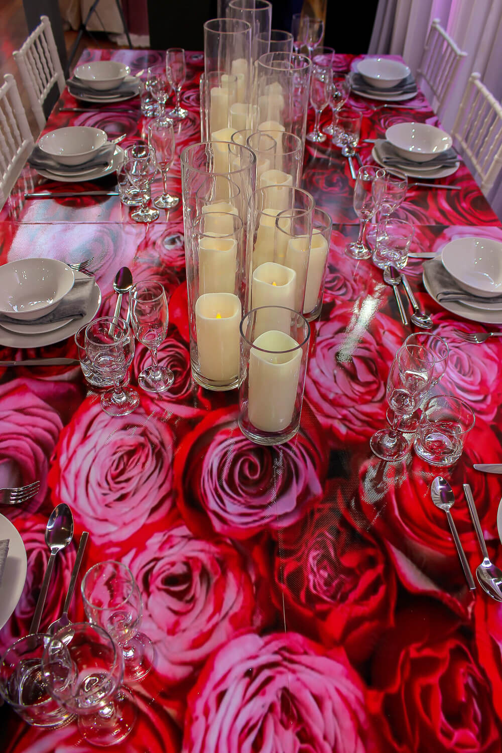 Rose Decal on Table party hire Melbourne
