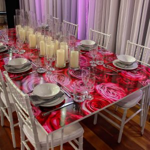 Table with white tiffany chairs hire melbourne