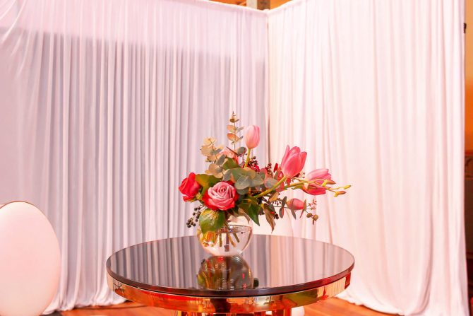 Velvet White Draping with Flower on Table Hire Melbourne (1)