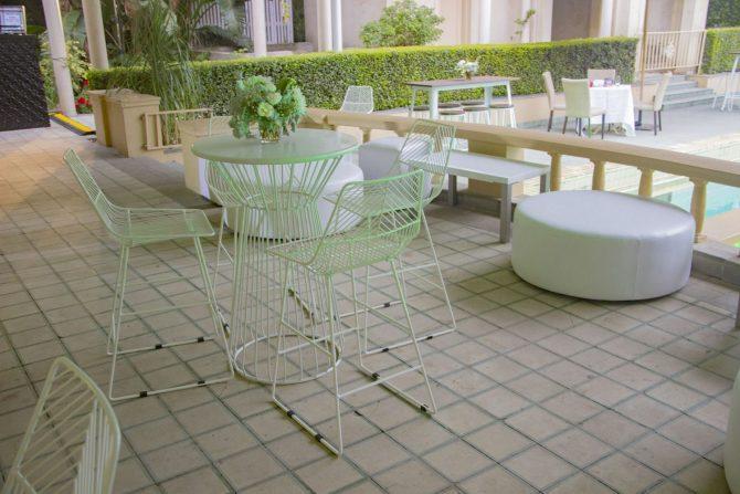 Wire Furniture Hire White Ottoman