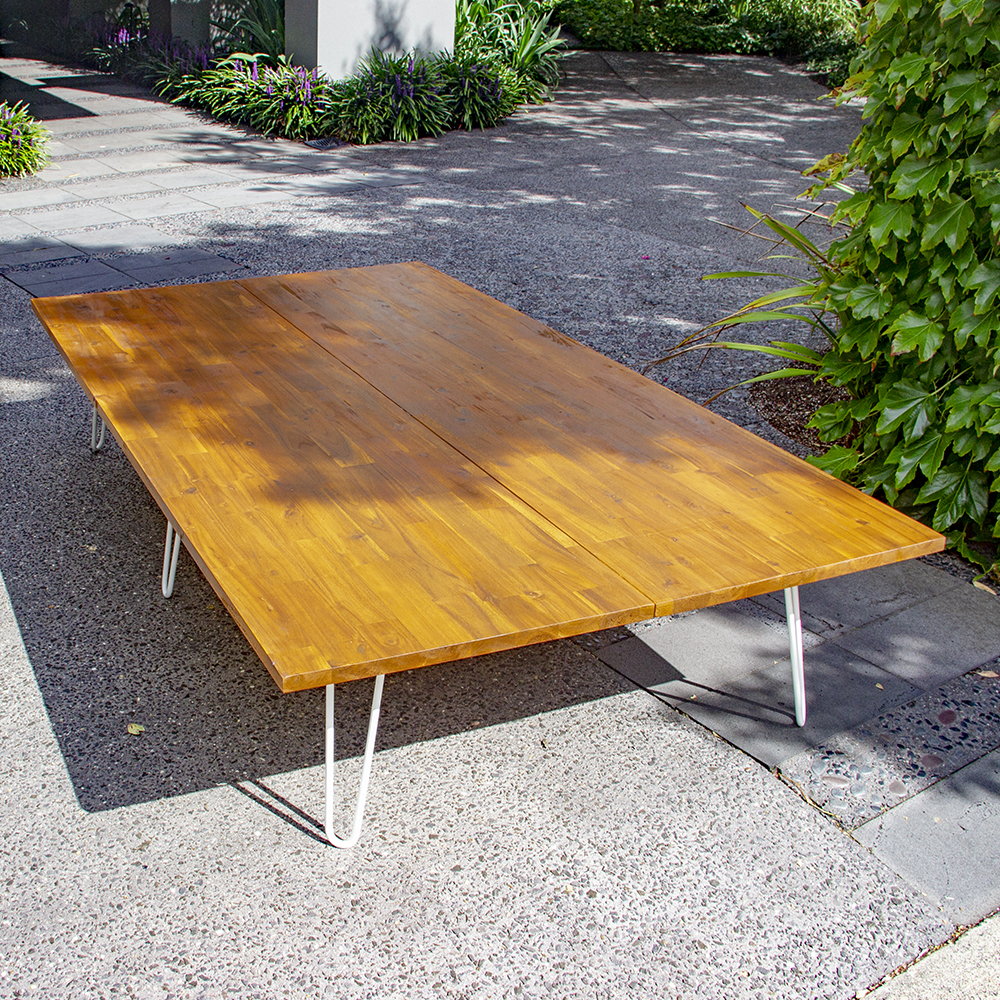 Large low lying timber table hire melbourne preview image