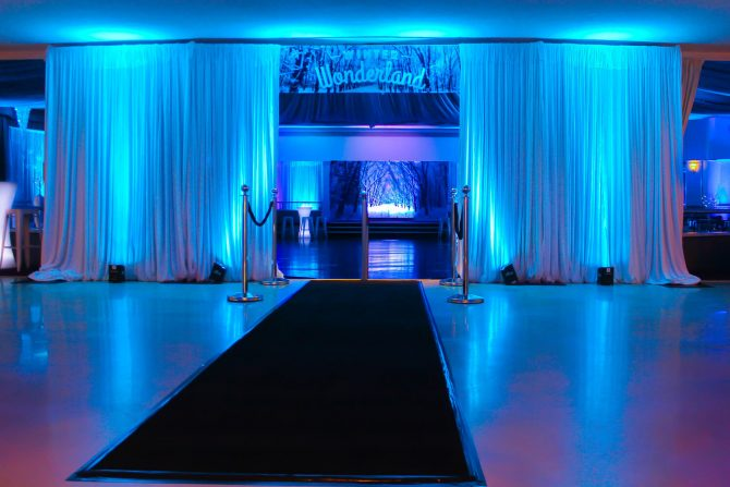 Black Carpet Entrance with Blue uplighting Hire Melbourne