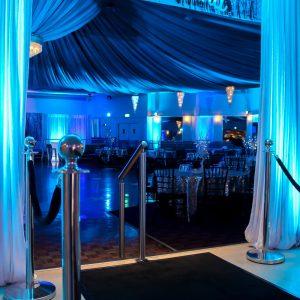 Blue Uplights Winter Wonderland Entrance Silver Stanchions