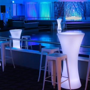 LED Bar Stool In White for a Winter Theme