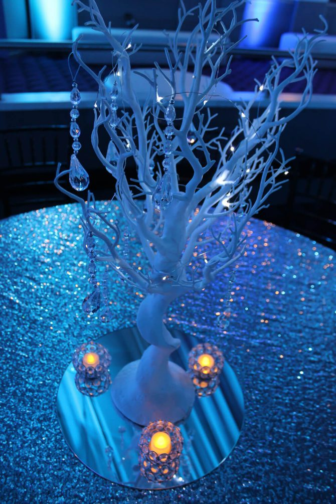 Manzanita Tree Centrepiece Hire Winter Wonderland Theme Silver Table Cloth