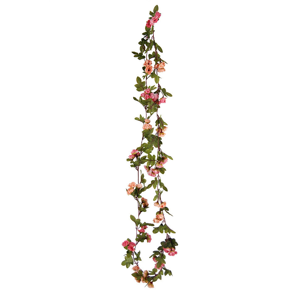 Artificial rose bud leaf garland