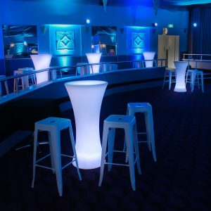 White Glow Bar LED Furniture with Stools Melbourne Hire