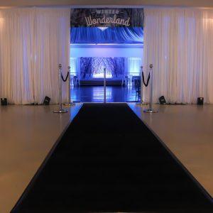 White Velvet Draping Entrance with Black Carpet