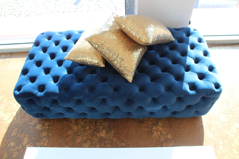 Blue Velvet Ottoman Hire Melbourne with Gold Pillows