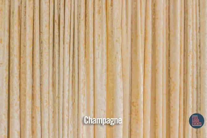 Champagne Coloured Velvet Drape Hire Melbourne - Crushed Velvet