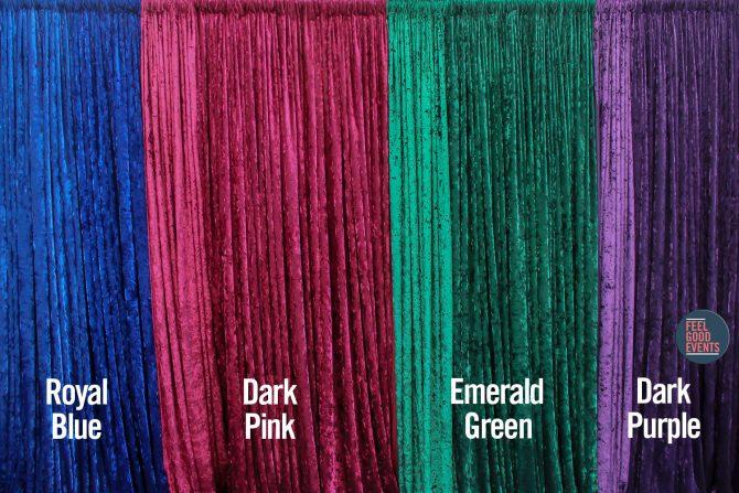 Coloured Crushed Velvet Drape Hire Melbourne