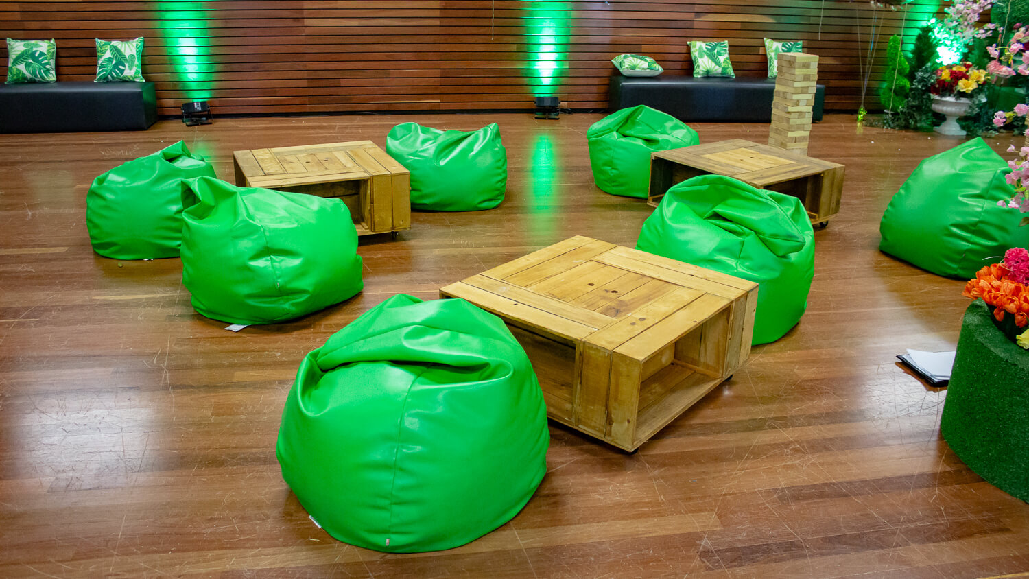 Green bean bag hire melbourne in enchanted forest setting