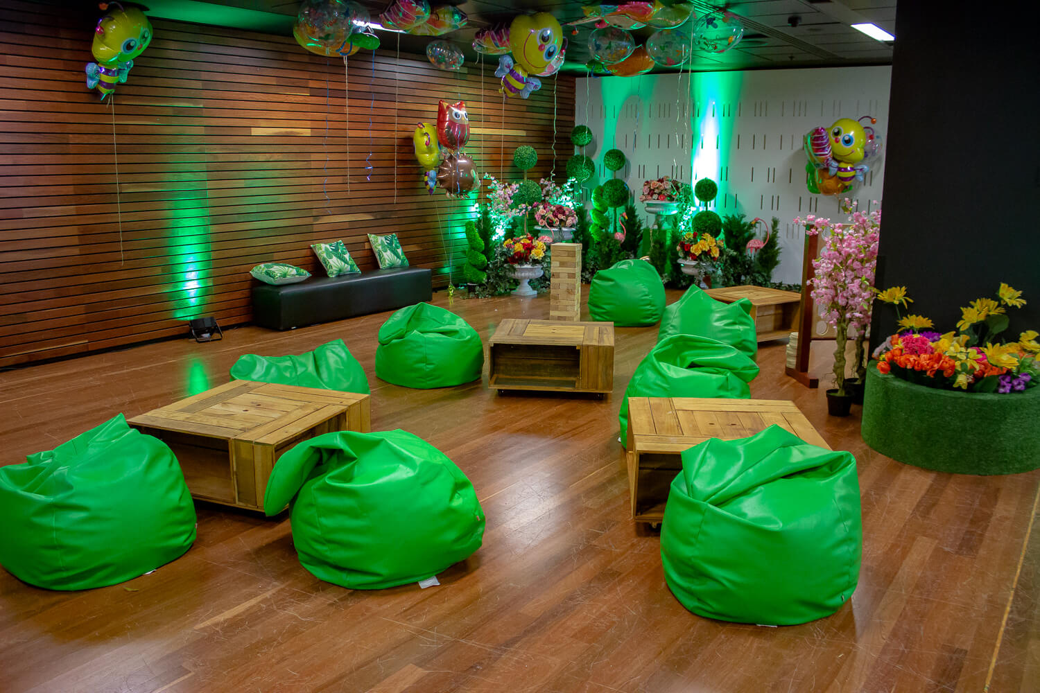 Green bean bag hire melbourne in forest setting