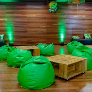 Green bean bag hire melbourne with wooden coffee tables