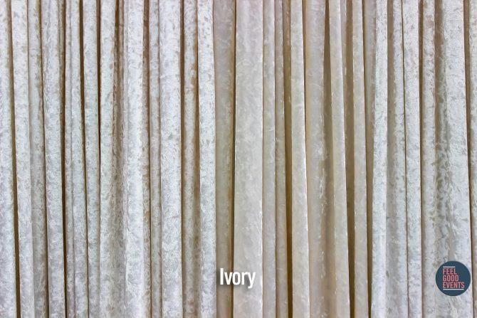 Ivory Velvet Drape Hire Melbourne - Crushed Velvet