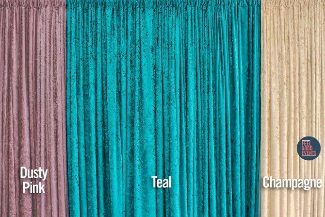 Pastel Coloured Crushed Velvet Drape Hire Melbourne