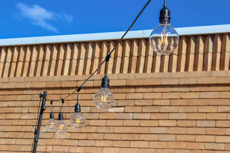 Vintage Festoon Lights Hanging from string Hire Melbourne