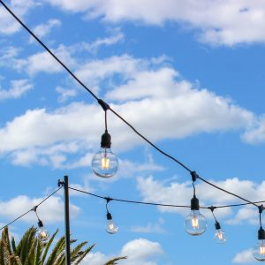 Vintage Festoon Lights Hire Hanging in sections Melbourne