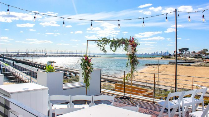 Vintage Festoons Hire Melbourne in beach wedding setting