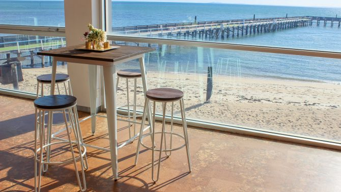 White Tolix Table with White Hair Pin Stool Hire Melbourne Beach setting