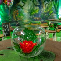 red lotus flower in front of forest backdrop party hire melbourne