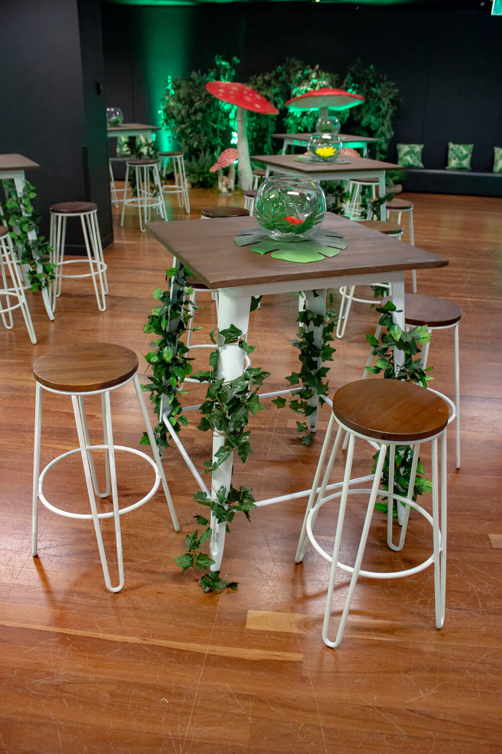 white and wooden furniture hire melbourne