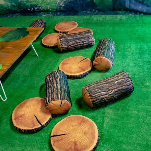 wooden logs pillows cushions hire melbourne