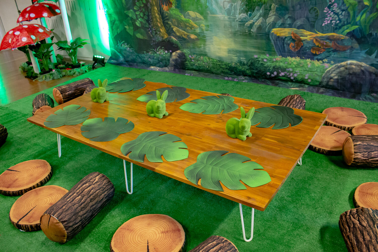 wooden table hire melbourne in enchanted forest setting