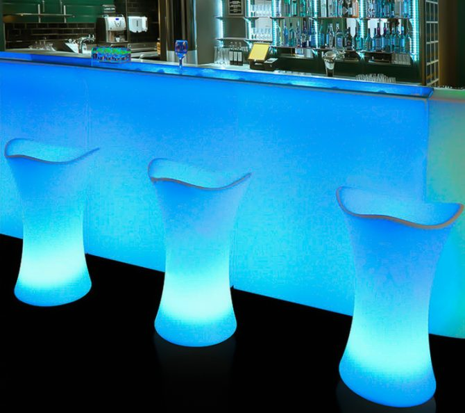 Blue glowing illuminated bar stools infront of straight bar hire melbourne