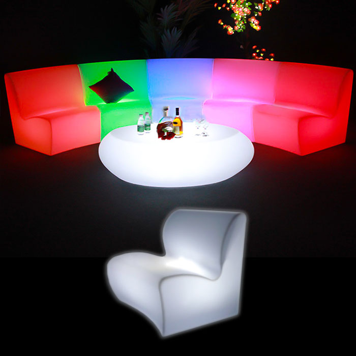 Illuminated Curved Sofa glow furniture seating hire melbourne