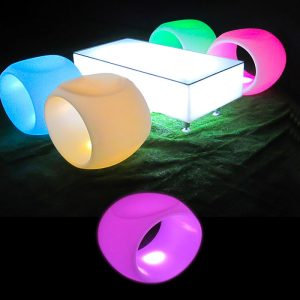 Illuminated Hollow Low Stool glow furniture hire melbourne