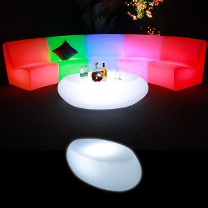 Illuminated Oval Coffee Table glow furniture hire melbourne