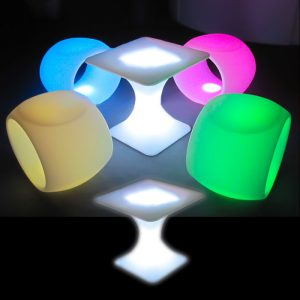 Illuminated Square Top Coffee Table glow furniture seating hire melbourne